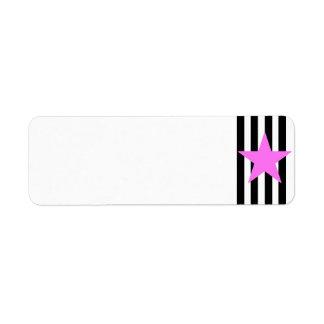 Black Strips Pink Star- Customizable Background Label