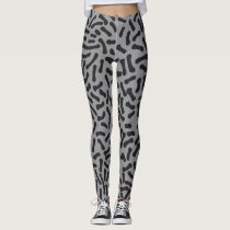 Black Stroke Pattern Leggings