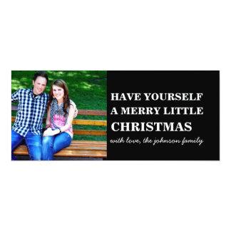 Black Style Photo Christmas Flat Cards