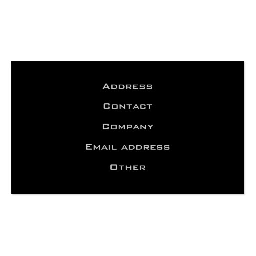 Black Stylish Automotive Business Card (back side)