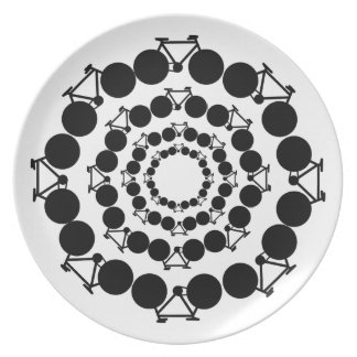 black stylized bicycles in circles dinner plate