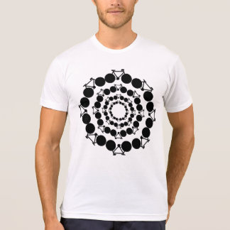 black stylized bicycles in circles shirts