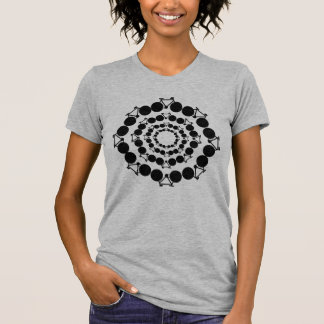 black stylized bicycles in circles t shirt
