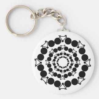 black stylized bikes in circles keychain