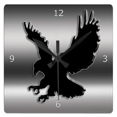 Black stylized Eagle on faux metallic-look Wall Clocks