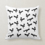 Black stylized roosters throw pillows