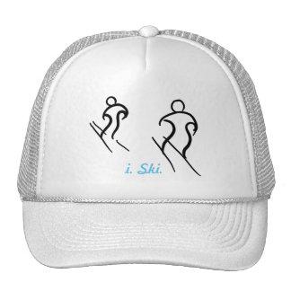 Black Stylized Skiers Skiing and i. Ski. text Trucker Hat