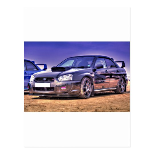 Black Subaru Impreza WRX STi Postcard