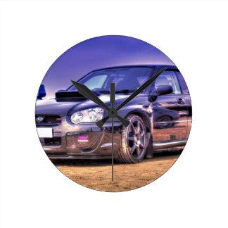 Black Subaru Impreza WRX STi Round Clock