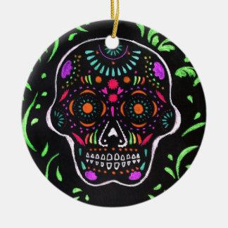 Black Sugar Skull 3 Ceramic Ornament