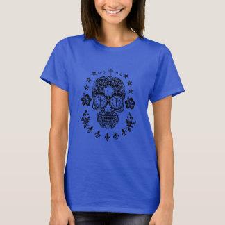Black Sugar Skull and Cross with Fleur De Lis T-Shirt