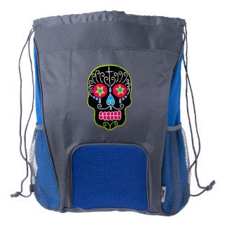Black Sugar Skull Drawstring Backpack