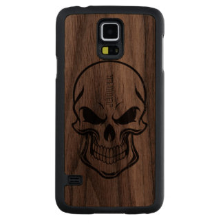 Black Sugar Skull Grunge Style Carved Walnut Galaxy S5 Case