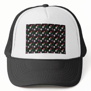 Halloween Themed black sugar skull trucker hat