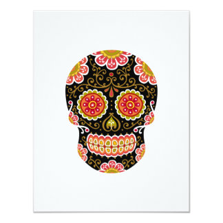 """Black Sugar Skull White 4.25"""" x 5.5"""" Invitation"""
