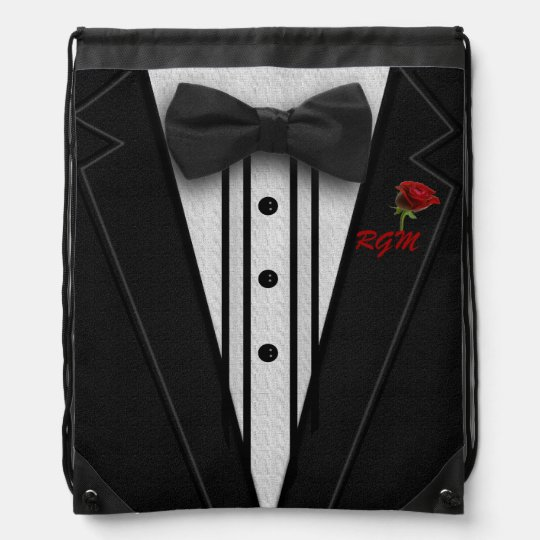054b9fa39a5f Black Suit Bow Tie and Rose Drawstring Backpack | Zazzle.com