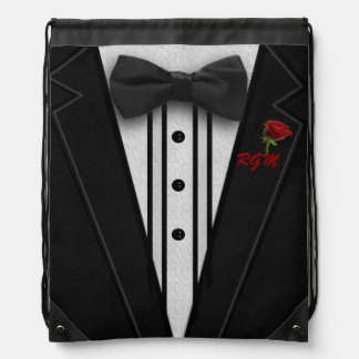 Black Suit Bow Tie and Rose Drawstring Bags