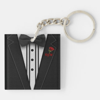 Black Suit Bow Tie and Rose Keychain