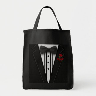 Black Suit Bow Tie and Rose Tote Bag