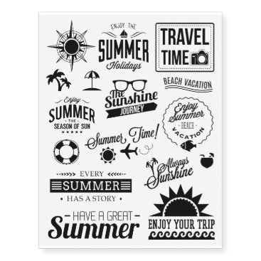 Beach Themed Black Summer Collection 1 Temporary Tattoos