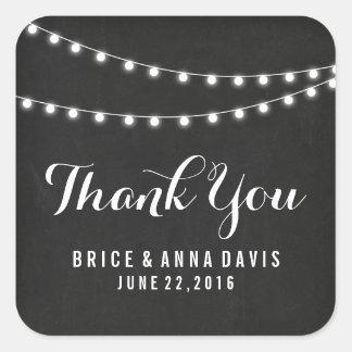 Black Summer String Light Wedding Thank You Square Sticker