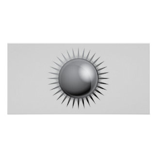 black-sun-vector BLACK GREY GRAY DARK METAL METALL Personalized Photo Card