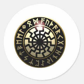 Black Sun wheel Classic Round Sticker
