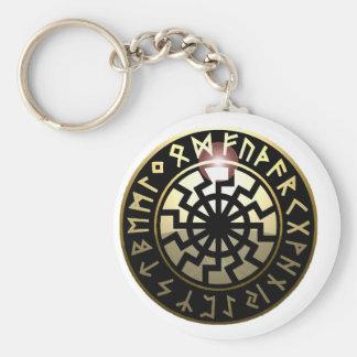 Black Sun wheel Keychain