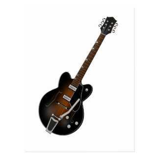 Black Sunburst Hollow Body Guitar Postcard