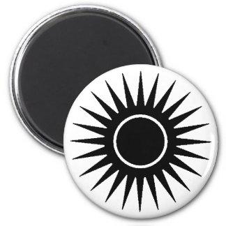 Black Sunburst 2 Inch Round Magnet