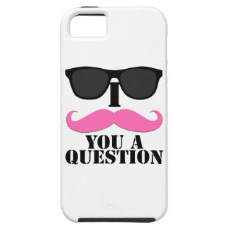 Black Sunglasses Pink I Moustache You a Question iPhone SE/5/5s Case