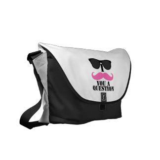 Black Sunglasses Pink I Moustache You A Question Commuter Bags