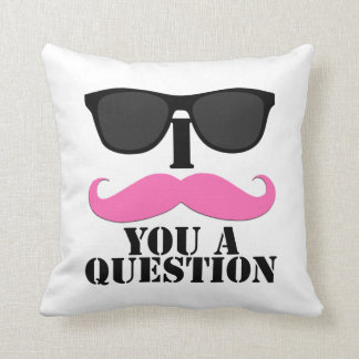 Black Sunglasses Pink I Moustache You A Question Throw Pillow