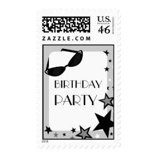Black Sunglasses Stars Birthday Party Postage