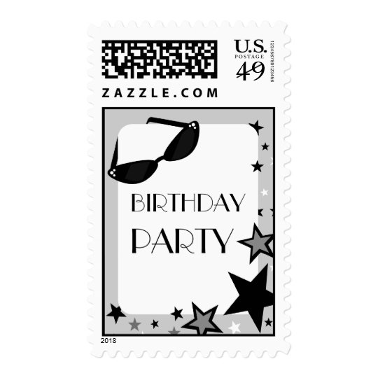 Black Sunglasses & Stars Birthday Party Postage