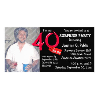 Black Surprise 40th Birthday Party Photo Invite
