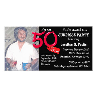 Black Surprise 50th Birthday Party Photo Invite Photo Card