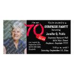 Black Surprise 70th Birthday Party Photo Invite Photo Card