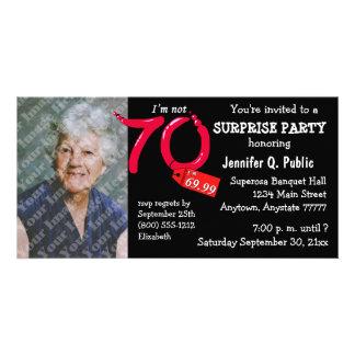 Black Surprise 70th Birthday Party Photo Invite Personalized Photo Card