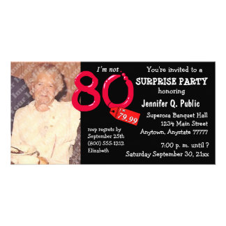 Black Surprise 80th Birthday Party Photo Invite Photo Card