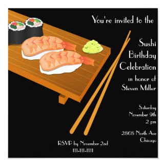 Black Sushi Birthday Invitation