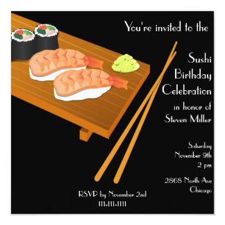 Black Sushi Birthday Invitation