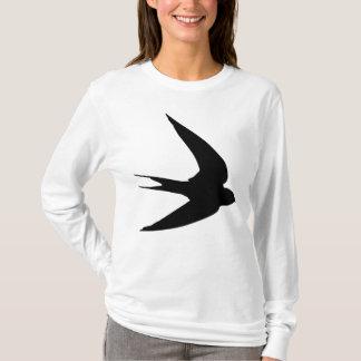 Black Swallow In Flight Bird Print T-Shirt