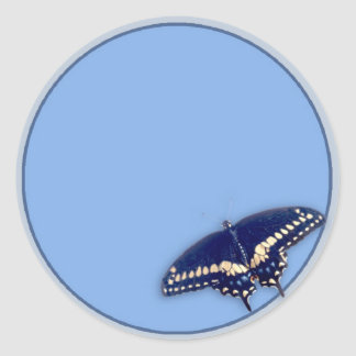 Black Swallow Longtail Classic Round Sticker