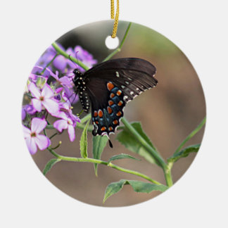 Black swallowtail butterfly ceramic ornament