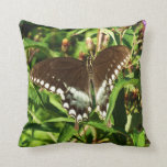 Black Swallowtail Butterfly Nature Photography Throw Pillow
