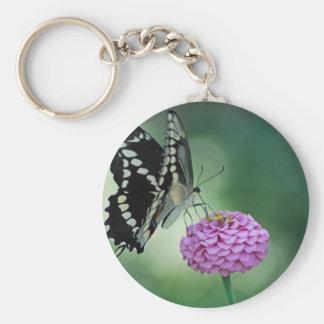 Black Swallowtail Butterfly on a Pink Flower Keychain