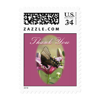Black Swallowtail Butterfly on a Thistle Stamp