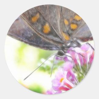 Black Swallowtail Butterfly on Buddleia Bush Classic Round Sticker