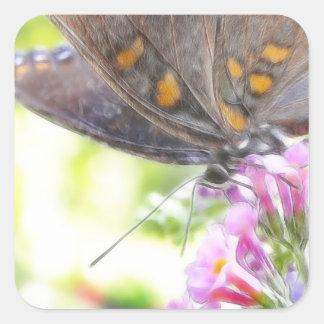 Black Swallowtail Butterfly on Buddleia Bush Square Sticker